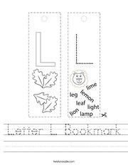 Letter L Bookmark Handwriting Sheet