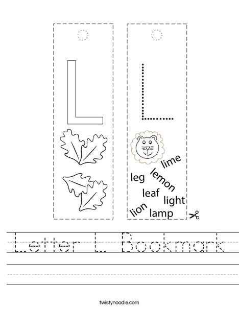 Letter L Bookmark Worksheet