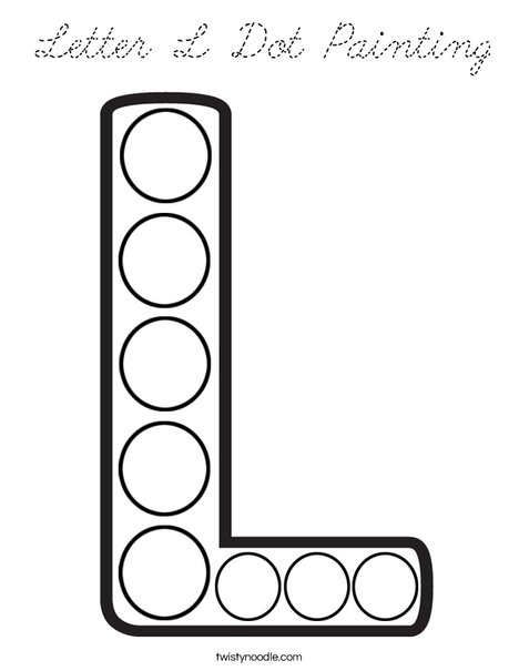 Letter L Dot Painting Coloring Page