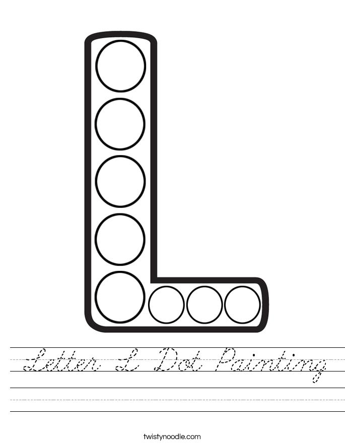 Letter L Dot Painting Worksheet