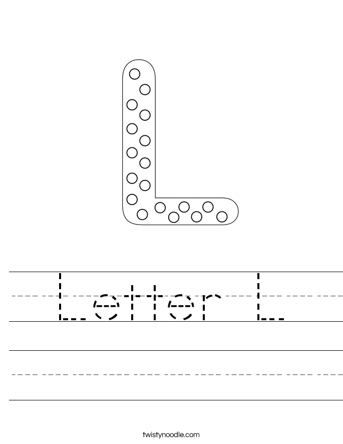 Worksheets Letter L Worksheets letter l worksheet twisty noodle worksheet