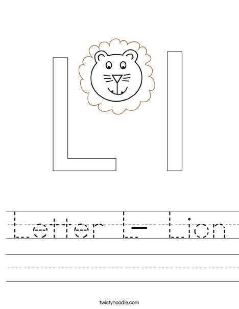 Letter L- Lion Worksheet