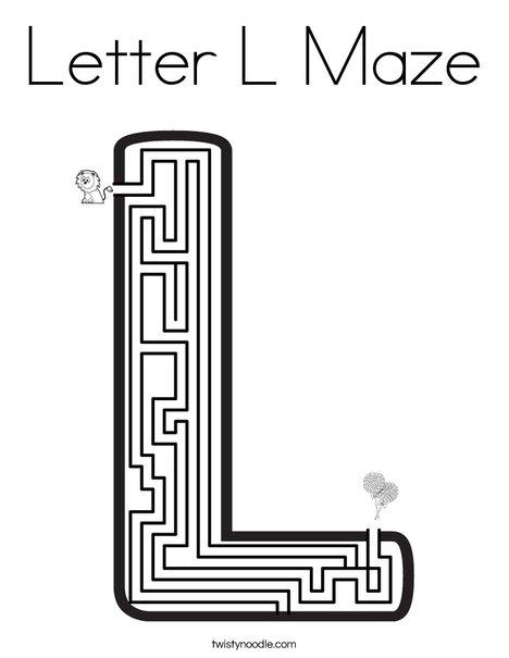 Letter L Maze Coloring Page
