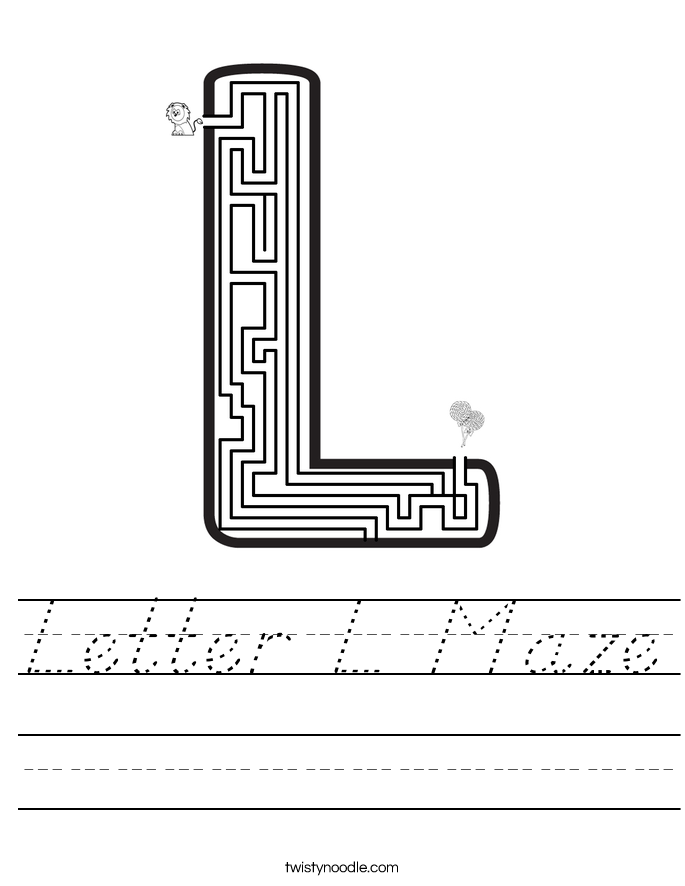 Letter L Maze Worksheet
