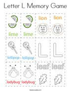 Letter L Memory Game Coloring Page