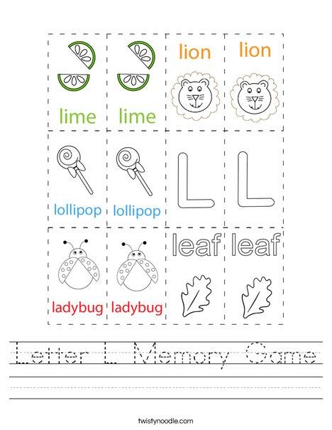 Letter L Memory Game Worksheet