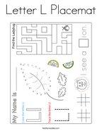 Letter L Placemat Coloring Page
