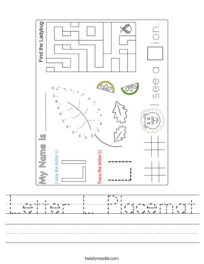 Letter L Placemat Worksheet