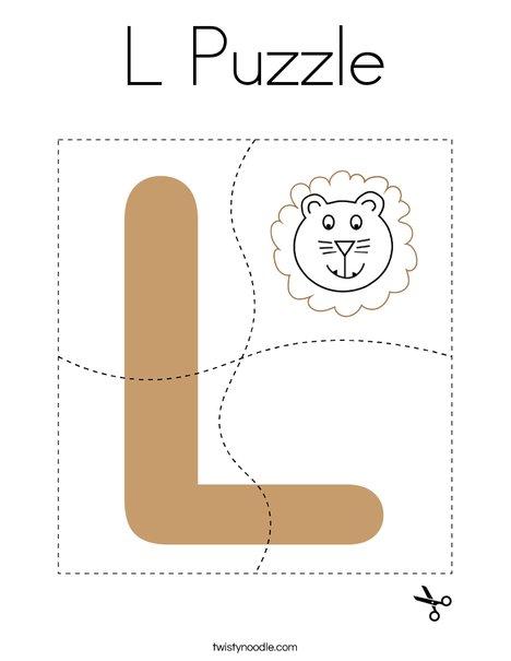 Letter L Puzzle Coloring Page