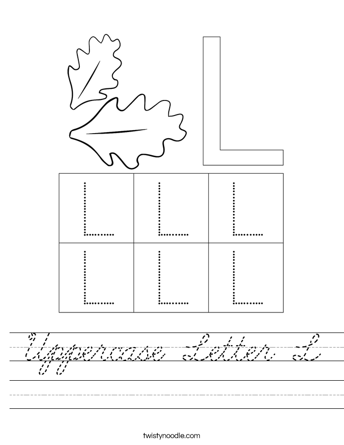 Uppercase Letter L Worksheet