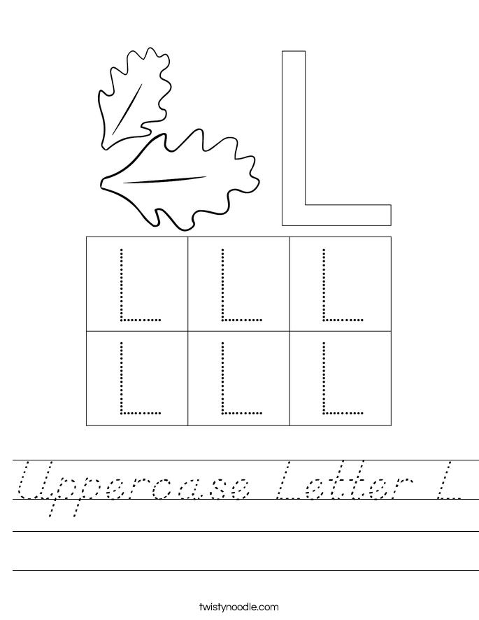 Uppercase Letter L Worksheet