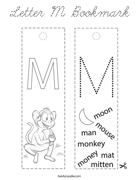 Letter M Bookmark Coloring Page