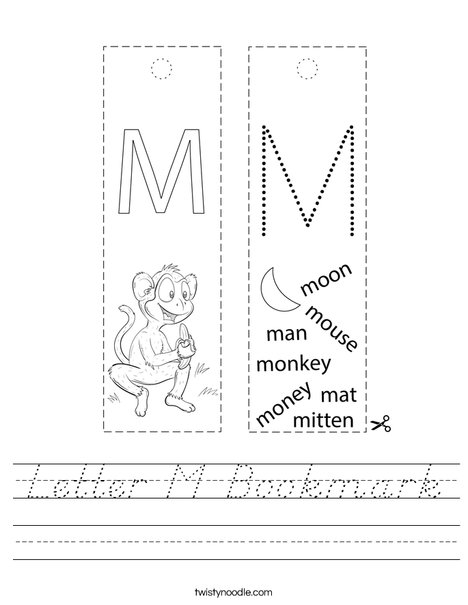 Letter M Bookmark Worksheet
