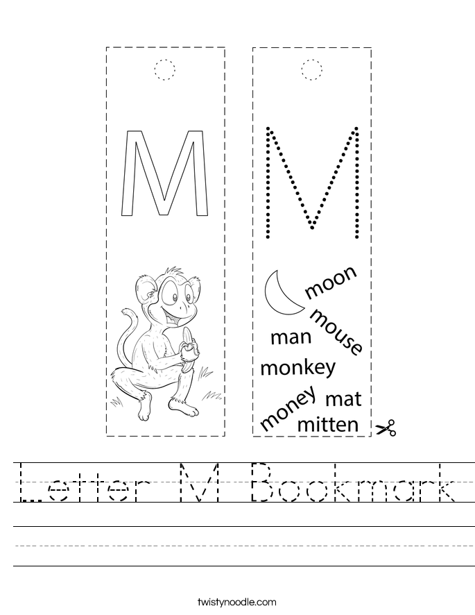 Letter M Bookmark Worksheet