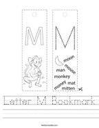 Letter M Bookmark Handwriting Sheet