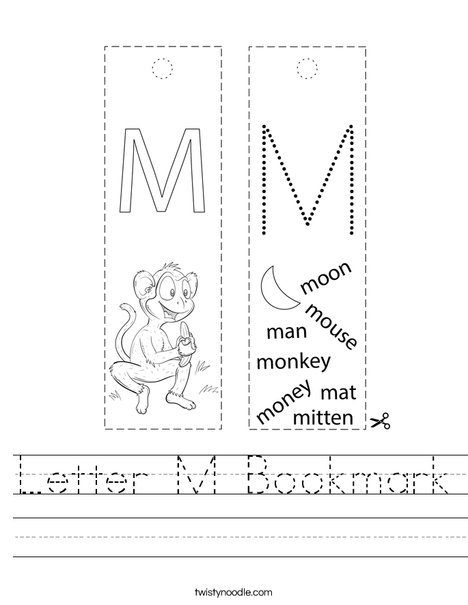 Letter M Bookmark Worksheet - Twisty Noodle