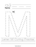 Letter M Cutting Practice Handwriting Sheet