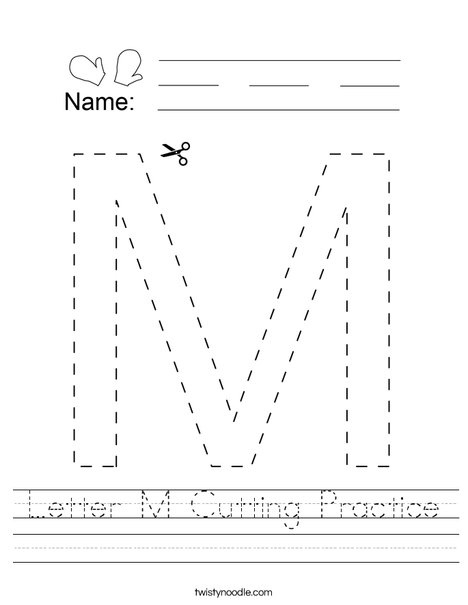 Letter M Cutting Practice Worksheet