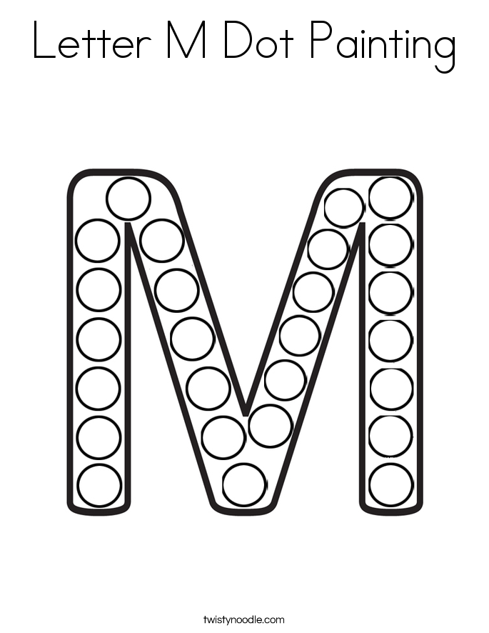 Letter M Dot Painting Coloring Page