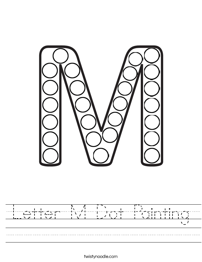 Letter M Dot Painting Worksheet