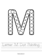 Letter M Dot Painting Handwriting Sheet
