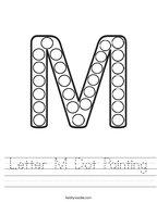 Letter M Dot Painting Handwriting Sheet