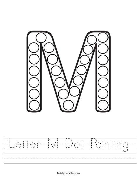 Letter M Dot Painting Worksheet