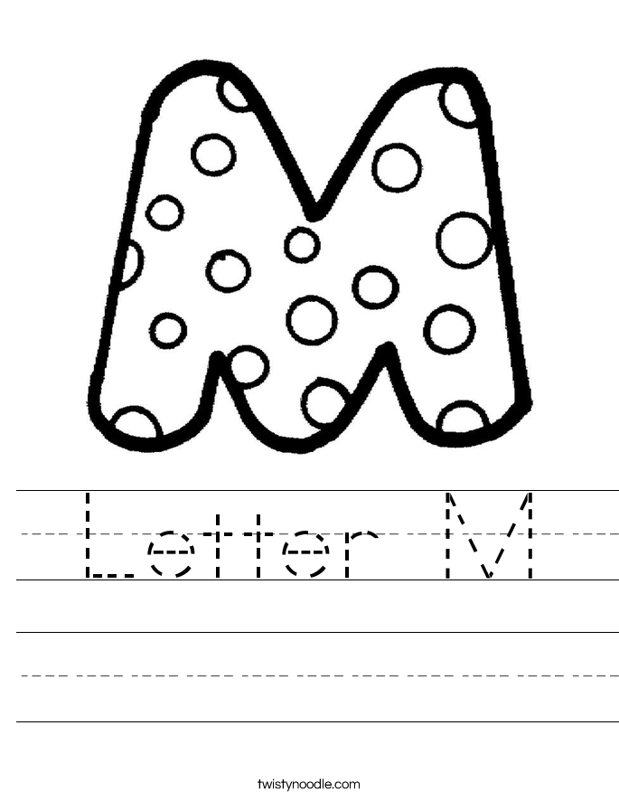 Letter M Worksheets Twisty Noodle – Letter M Worksheets for Kindergarten