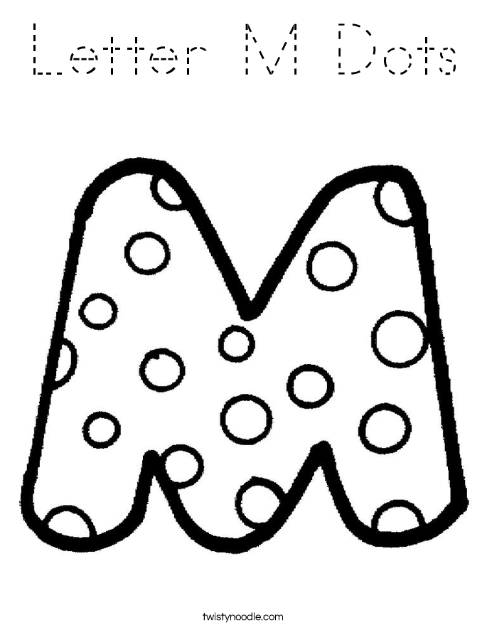 Letter M Dots Coloring Page - Tracing - Twisty Noodle