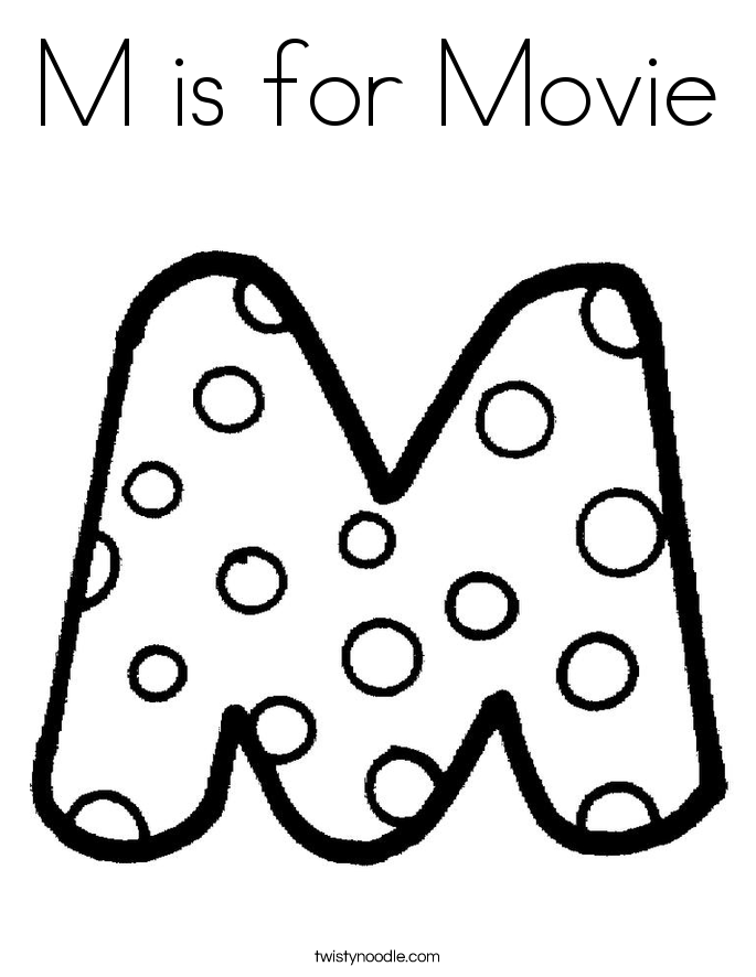 M is for Movie Coloring Page