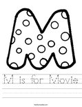 M is for Movie Worksheet