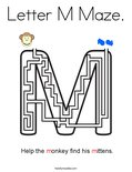 Letter M Maze. Coloring Page