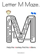 Letter M Maze Coloring Page