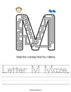Letter M Maze Handwriting Sheet