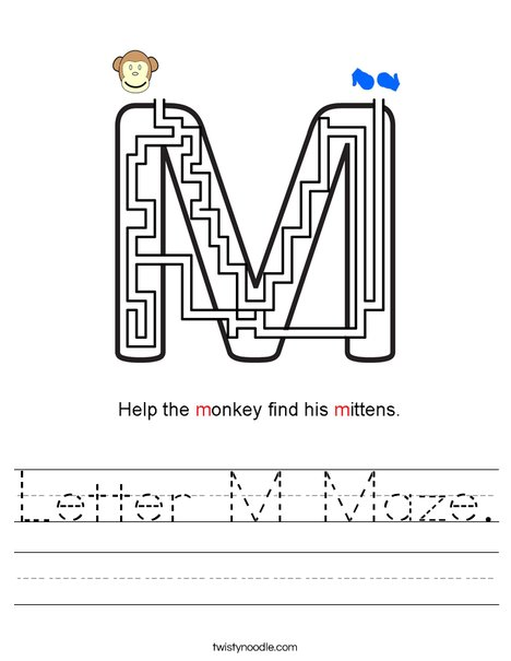 Letter M Maze. Worksheet