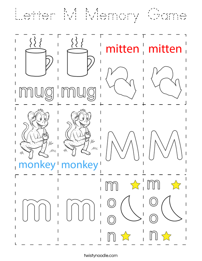 Letter M Memory Game Coloring Page
