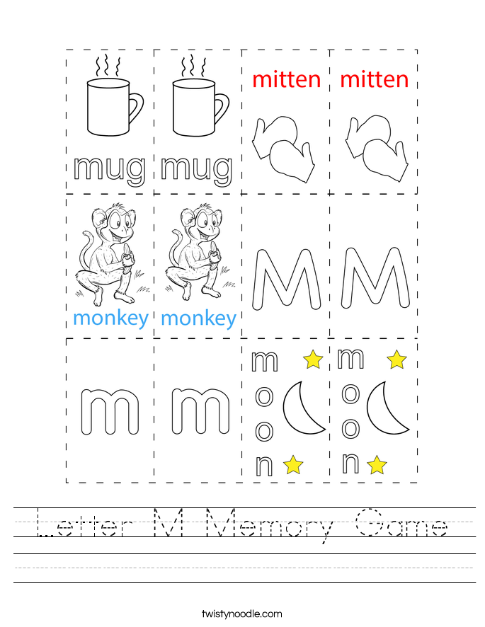 Letter M Memory Game Worksheet