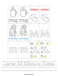 Letter M Memory Game Worksheet