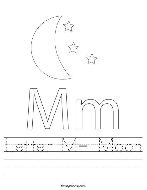 Letter M- Moon Worksheet