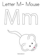 Letter M- Mouse Coloring Page