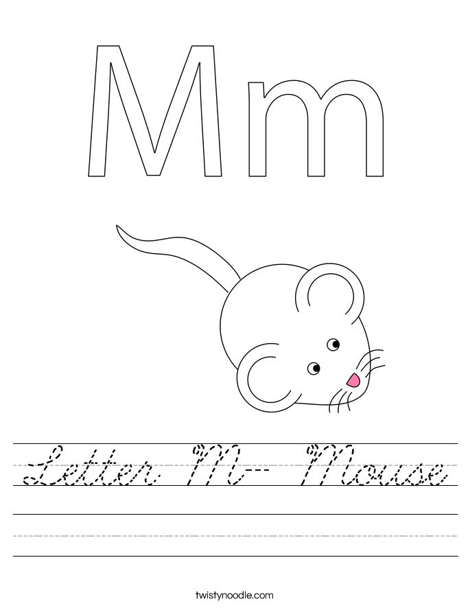 Letter M- Mouse Worksheet