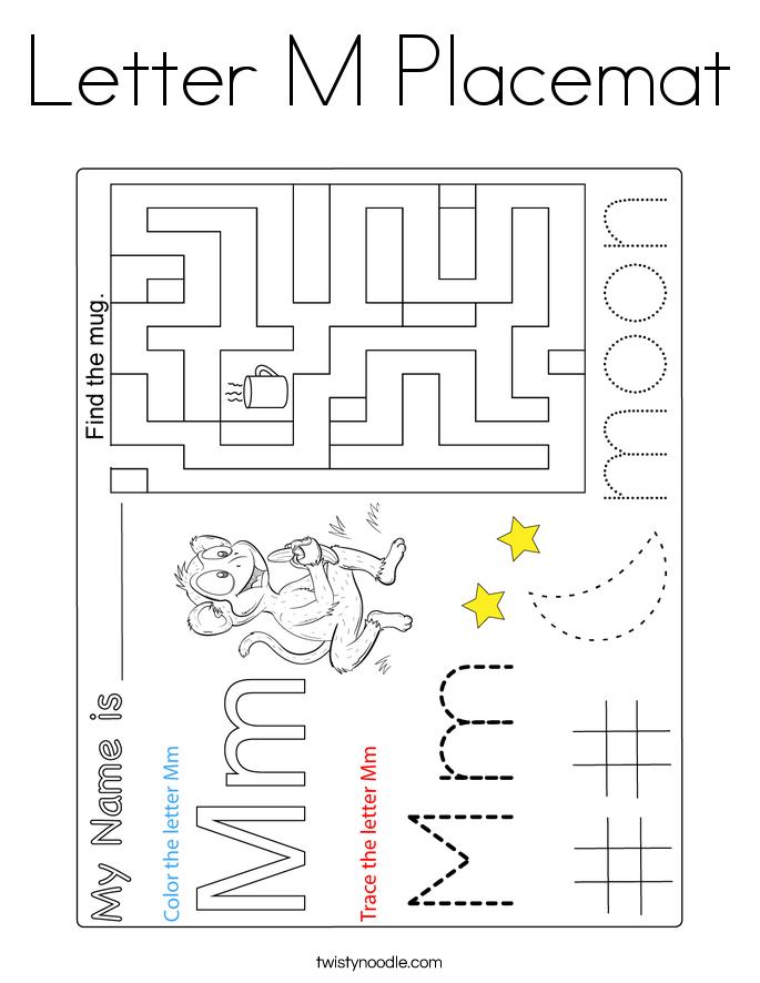 Letter M Placemat Coloring Page