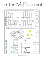 Letter M Placemat Coloring Page