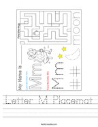Letter M Placemat Handwriting Sheet