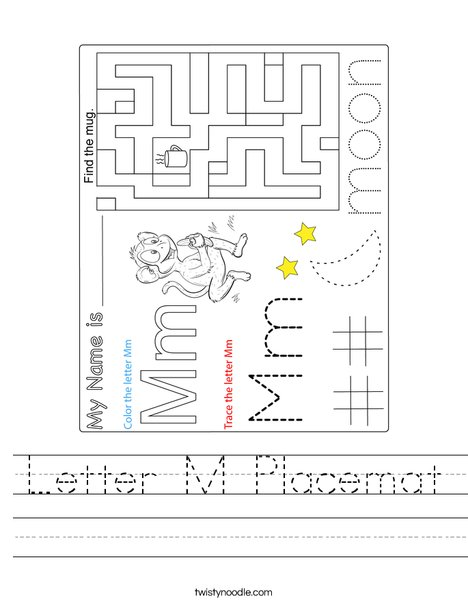Letter M Placemat Worksheet
