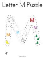 Letter M Puzzle Coloring Page