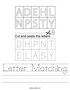 Letter Matching Handwriting Sheet