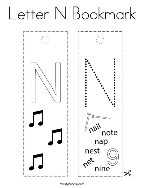 Letter N Bookmark Coloring Page