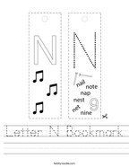 Letter N Bookmark Handwriting Sheet