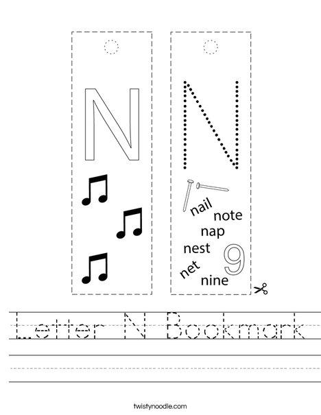 Letter N Bookmark Worksheet